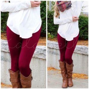 Burgundy/Wine Fleece Lined Leggings